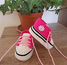 Topánočky - Ružové tenisky s kvetinkou - 11881820_
