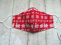 Rúška - Bavlnené rúška s drôtikom... Čičmany 1 (Dámske červené) - 11879777_