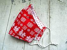 Rúška - Bavlnené rúška s drôtikom... Čičmany 1 (Dámske červené) - 11879778_