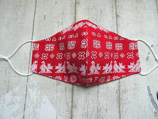 Bavlnené rúška s drôtikom... Čičmany 1 (Dámske červené)