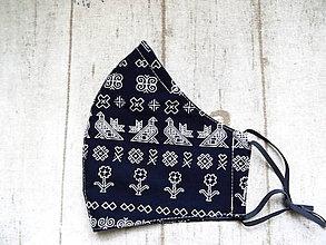 Rúška - Bavlnené rúška s drôtikom... Čičmany 1 (Pánske modré) - 11879781_