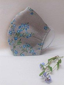 """Rúška - Ručne maľované ľanové rúška s priestorom na filter kolekcia """" HERBÁR """" (prírodný ľan + nezábudka) - 11882175_"""