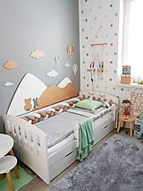 Detské doplnky - Drevená zástena za posteľ kopce biele, šírka 160cm - 11881908_