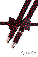 Doplnky - Retro bodkovaný motýlik a traky - pánsky - na guľky - čierny - červený - 11879589_