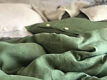 Úžitkový textil - Ľanové posteľné obliečky (140x200cm 70x90cm - Khaki  Zelená) - 11880904_