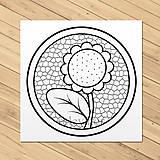 Papiernictvo - Omaľovánka kvety v kruhu - slnečnica - 11880522_