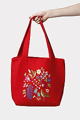 Veľké tašky - Kabelka stredne veľká červená s výšivkou - 11882663_