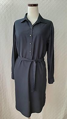 Šaty - Dámske košelové šaty tmavomodré - 11885630_