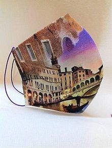 Rúška - Dizajnové bavlnené rúška podšívané jemnučkým ľanom, tvarované, rôzne vzory (Mesto s fialovou oblohou) - 11884780_
