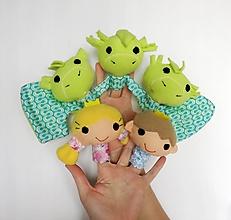 Hračky - Sada maňušiek na prst - Trojhlavý drak, princezná, princ - 11884856_