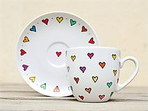Nádoby - Porcelánová šálka s podšálkou - Srdiečka (šálka 150 ml) - 11887239_