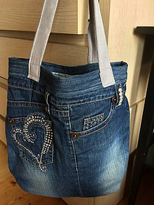 Veľké tašky - Rifľová taška - 11885125_