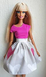 Hračky - Sukňa s veľkými srdiečkami pre Barbie - 11883335_