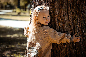 Detské oblečenie - Amélia dúhový sveter vo farbe Camel - 11883663_