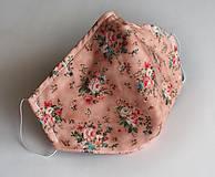 Ochranné rúško dizajnové 3-vrstvové - ružičky na marhuľkovej