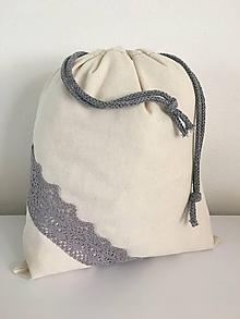 Úžitkový textil - Vrecko na chlieb z ľanového plátna s bavlnenou krajkou - 11884769_