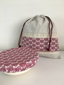 Úžitkový textil - Darčekový set produktov- srdiečková edícia (set č.1- vrecko + čiapka) - 11885008_