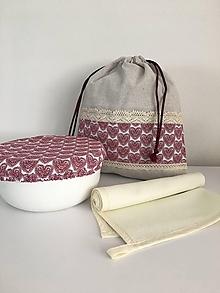 Úžitkový textil - Darčekový set produktov- srdiečková edícia (set č.3- vrecko + utierka + čiapka) - 11885016_