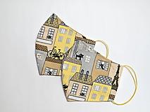 Textilné rúško na tvár - Mačacie mestečko MUŽI + náhradné gumičky