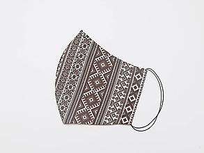 Rúška - Textilné rúško na tvár FOLK PÁSY, vnútro antibakteriálna bavlna + náhradné gumičky - 11885068_