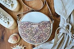 Kabelky - Makrónka (ľan + korok) ornament - 11890241_