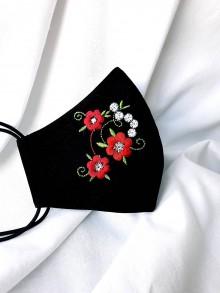 Rúška - Čierne rúško 2-vrstvové s výšivkou Kvety - 11889822_