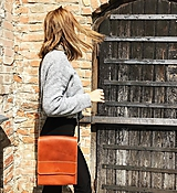 Kabelky - Kožená taška cez plece - 11888737_