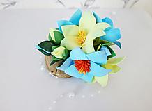 Francúzska kvetinová spona do vlasov Astra Blue