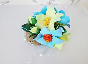 Ozdoby do vlasov - Francúzska kvetinová spona do vlasov Astra Blue - 11890750_
