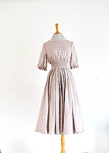 Šaty - Ľahučké šaty s vrapovaným elastickým pásom a kruhovou midi sukňou - 11891310_