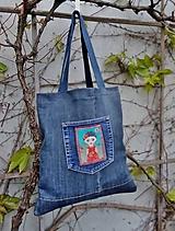 Nákupné tašky - Jeansová taška FRIDA s kapsou - 11894963_