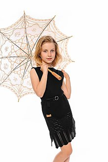 Detské oblečenie - Dievčenské šaty, Diana - čierne - 11896030_