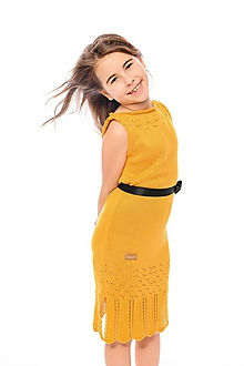 Detské oblečenie - Dievčenské šaty, Diana - horčicové - 11896065_