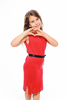 Detské oblečenie - Dievčenské šaty, Diana - červené - 11896173_