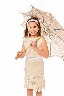 Detské oblečenie - Dievčenské šaty, Diana - béžové - 11896225_