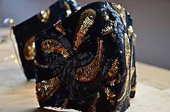 Rúška - Rúško na tvár TAJOMSTVO NOCI  (spodná časť 19 cm, horná časť 22 cm, nos - brada 15 cm - Čierna) - 11895314_