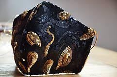 Rúška - Rúško na tvár TAJOMSTVO NOCI  (spodná časť 19 cm, horná časť 22 cm, nos - brada 15 cm - Čierna) - 11895320_