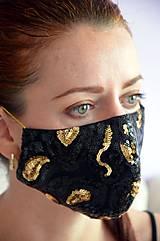 Rúška - Rúško na tvár TAJOMSTVO NOCI  (spodná časť 19 cm, horná časť 22 cm, nos - brada 15 cm - Čierna) - 11895323_