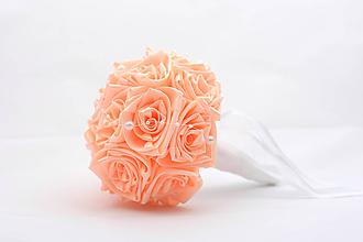 Kytice pre nevestu - Saténová kytica svadobná marhuľová ruže - 11894467_