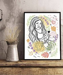 Grafika - Pod srdcom nosím lásku - Tehotenská ilustrácia s vašou podobou a bábatkom - 11893707_