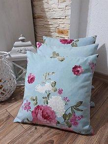 Úžitkový textil - Obliečka na vankúš (Ruže na modrej) - 11902024_