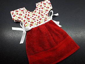 Úžitkový textil - Dekoračný uteráčik (jahôdky a červený) - 11902086_