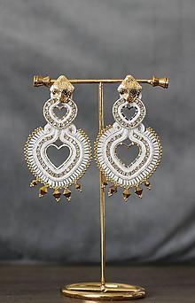 Náušnice - Bielo-zlaté Srdcia  (Zlatá) - 11898540_