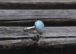 Prstene - Prsteň Larimar z rhodiovaného striebra - 11899984_