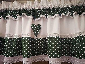 Úžitkový textil - Záclonka +závesy tmavo zelená - 11898515_