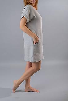 Tuniky - Ľanová tunika / šaty Kate, šedá - 11897470_