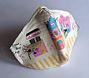 Ochranné rúško 3-vrstvové - domčeky