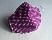 Ochranné rúško 2-vrstvové s drôtikom - fialové s bielymi bodkami