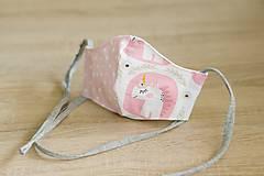 Rúška - rúško detské dievčenské jednorožec a bodky - 11898724_