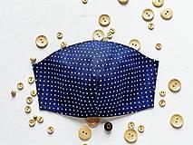 Rúška - Bavlnené rúško - modré s bodkami - 11899756_
